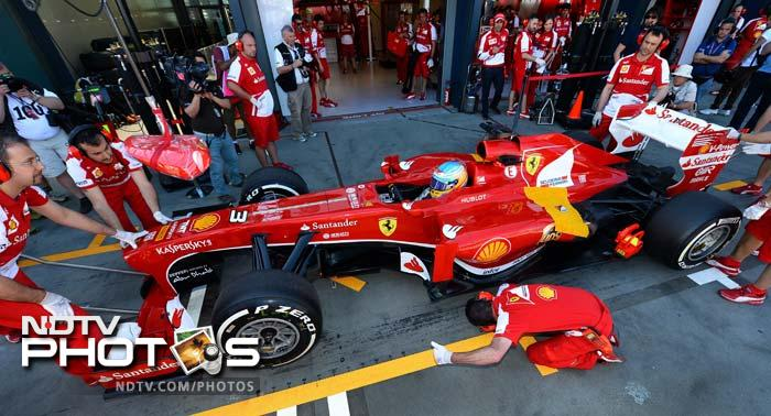 Felipe Massa and Fernando Alonso in their Ferrari's were 8th and 6th quickest respectively.