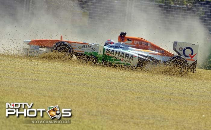 Hamilton's was not the only car to taste the dust.<br><br>Sahara Force India's Paul di Resta is seen where he won't have wanted to go. He was 12th quickest while teammate Adrian Sutil - making his comeback in F1 - was ninth.