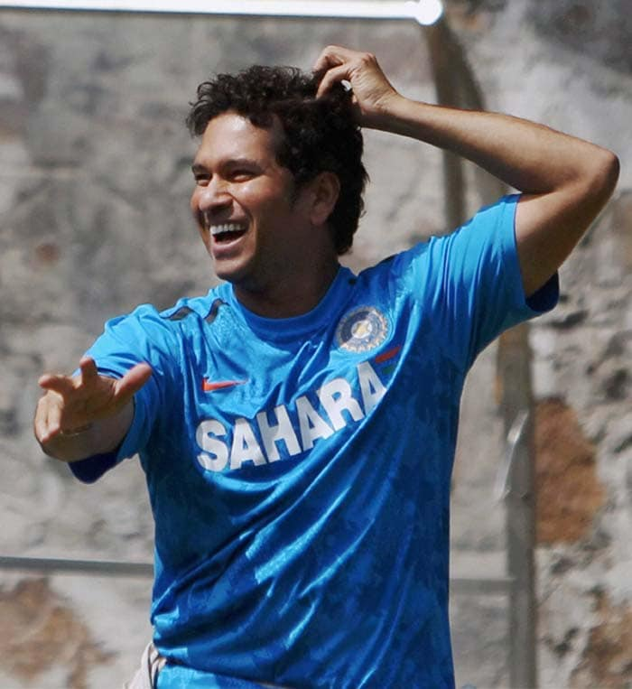 Sachin Tendulkar, who is looking forward to breaking a few more records against the Aussies, was in a jovial mood during the net session.