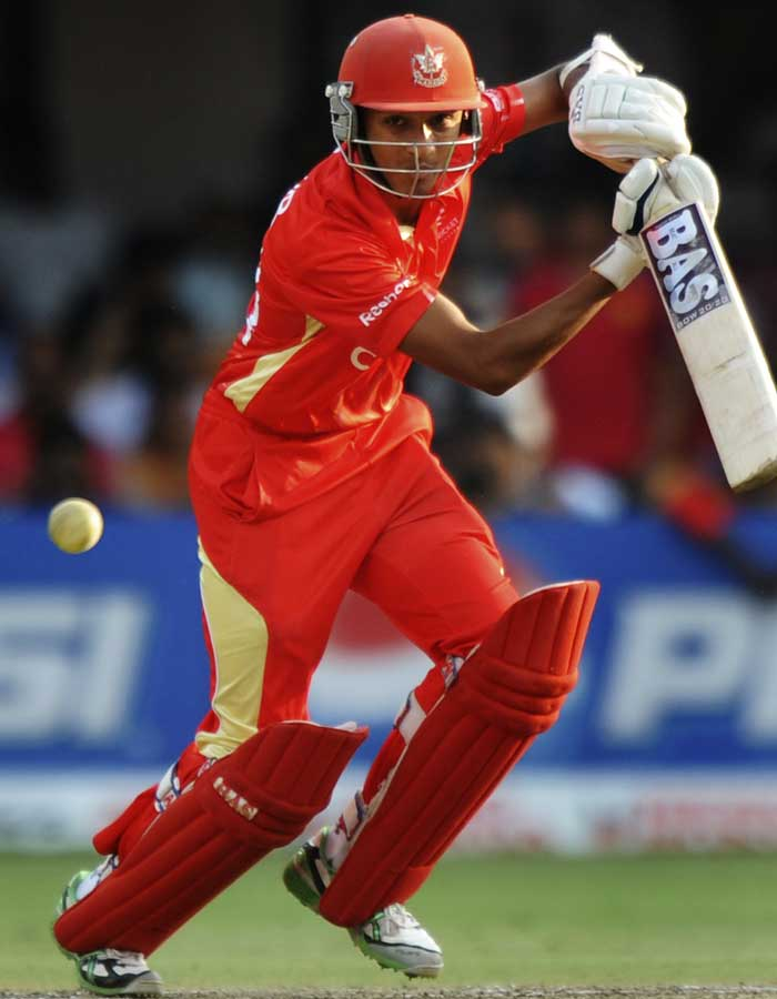 Canadian batsman Nitish Kumar plays a shot during the Cricket World Cup match. (AFP Photo)