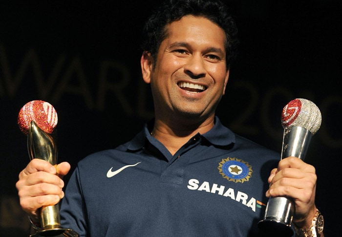 India's cricketing icon Sachin Tendulkar was named Cricketer of the Year at the prestigious ICC Awards, held at a glittering ceremony in Bengaluru. During the voting period, the 37-year-old from Mumbai played in 10 Test matches, striking 1,064 runs, including six centuries, at an average of 81.84. Tendulkar also played in 17 ODI matches in the time, smashing his way to 914 runs at an average 65.28 in a period that also included the master batsman's record-breaking double-century against South Africa in Gwalior.