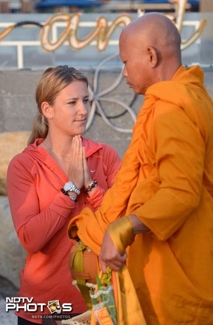 Azarenka also gave her spiritual side a chance as she visited a monastery during her stay in Thailand.