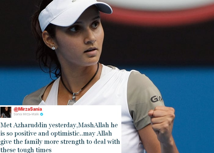 <b>Sania Mirza:</b> Met Azharuddin yesterday, MashAllah he is so positive and optimistic..may Allah give the family more strength to deal with these tough times