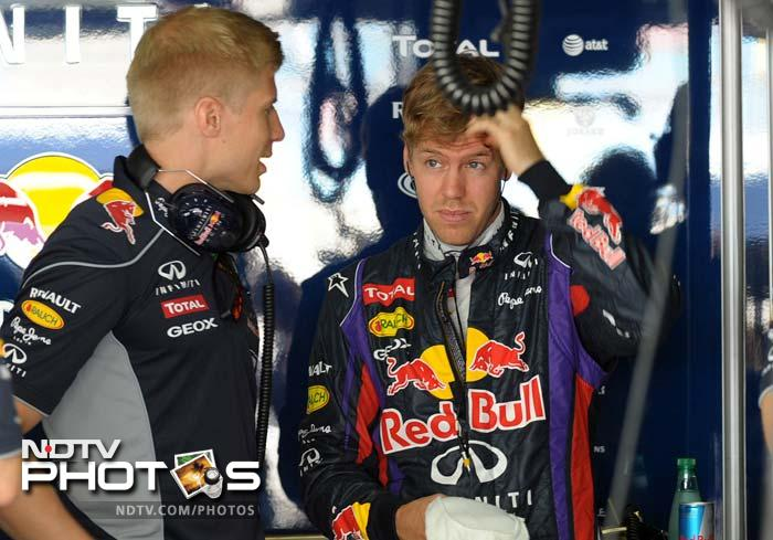 Red Bull driver Sebastian Vettel, who won the Bahrain Grand Prix last year, finished third behind his teammate Mark Webber in the second practice.