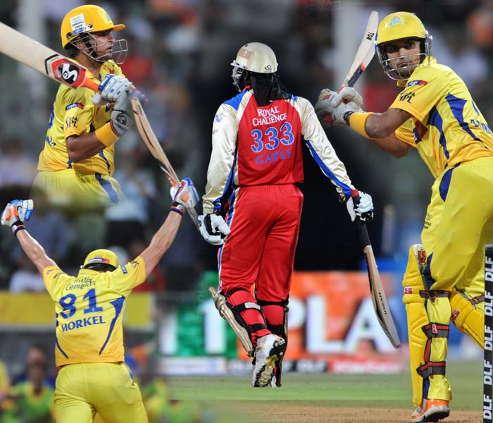 Chennai and Bangalore began their IPL play-off match on equal footing. The day mostly belonged to Daniel Vettori's side apart from the final few overs that gave a pass to Chennai for the finals of IPL 4. A look (AFP images)
