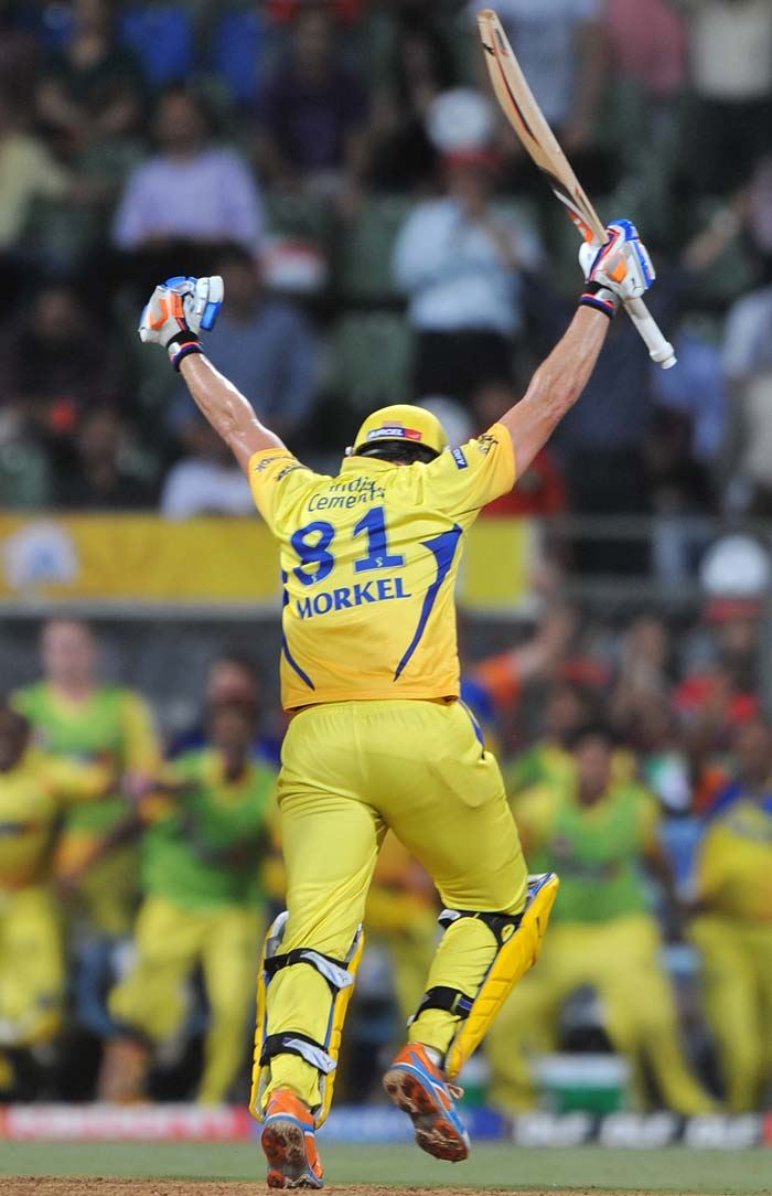 Three late sixes and a boundary from Albie Morkel towards the end stunned Bangalore as Chennai hurried home with two balls to spare from a difficult position. A six wicket win for MS Dhoni's side.