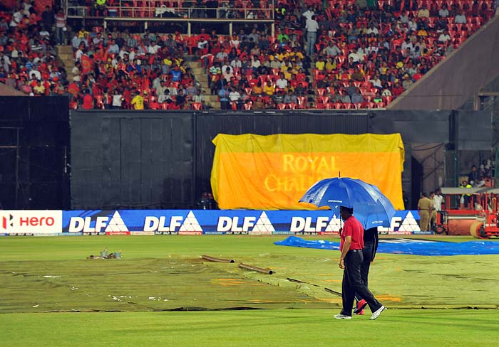 The pitch was a batting heaven according to reports but was kept under cover due to the showers. (AFP PHOTO/Manjunath KIRAN)
