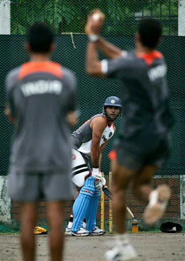 Yuvraj Singh, centre, practices in the nets a day before the first one-day international cricket match against Pakistan in Dhaka on Monday, June 9, 2008.