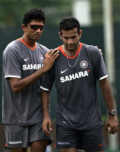 India's bowling coach Venkatesh Parsad, left, shares a moment with Irfan Pathan during a practice session a day before the first one-day international cricket match against Pakistan in Dhaka on Monday June 9, 2008.