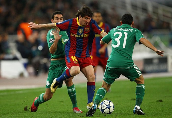 Group Stage: Advanced top of Group D ahead of FC Copenhagen, Rubin Kazan and Panathinaikos<br><br> Barcelona never looked troubled in Group D, sailing through unbeaten having clinched top spot and progressing to the next round with a game to spare. Although it conceded early in its opening match against Panathinaikos, Barcelona never allowed its opponent another shot at goal and stormed back to win 5-1 and take top spot from the opening matchday. Lionel Messi scored six times in six group matches, surpassing Rivaldo as Barcelona's leading scorer in Europe. The only area of concern was Barca's inability to make the most of overwhelming possession in 1-1 draws at Rubin Kazan and FC Copenhagen.