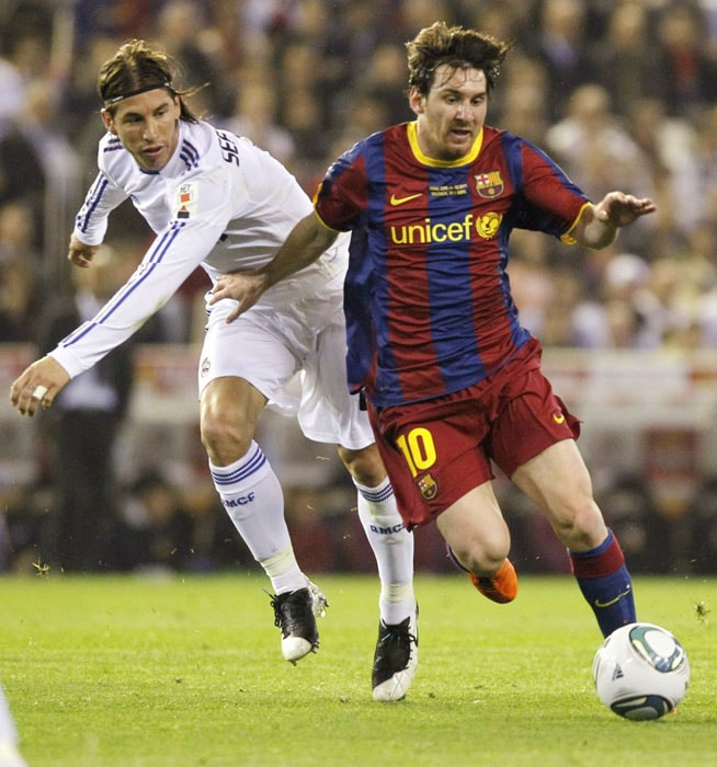 Semifinals: Advanced past Real Madrid (Spain) 3-1 on aggregate<br><br> Barcelona had by far the better of the latest chapter of arguably world football's biggest club rivalry, but only Lionel Messi's individual brilliance saved it from being entirely overshadowed by both teams' cynical play. For the first leg at the Santiago Bernabeu, Madrid coach Jose Mourinho tried the same tactics that frustrated Barcelona in the Copa del Rey final. But defender Pepe, playing in central midfield, was sent off and Messi scored two late goals — the latter a spectacular solo effort for his 11th in 11 tournament appearances — as the visitors' astonishing 72 percent possession yielded a 2-0 win. The return meeting at the Camp Nou was less eventful but Barcelona were again on top in a comfortable 1-1 draw.