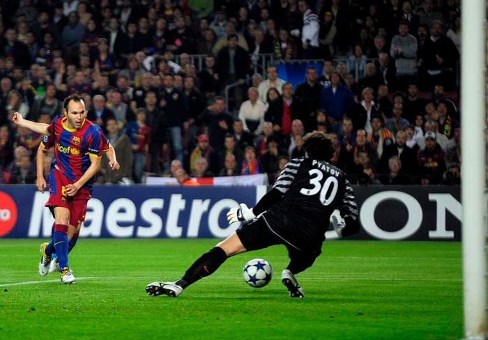 """Quarterfinals: Advanced past Shakhtar Donetsk (Ukraine) 6-1 on aggregate<br><br> Andres Iniesta's second-minute opener in the first leg at Camp Nou showed Barcelona were in no mood for a repeat of their loss to the same opponent in a 2008-09 group match. Shakhtar coach Mircea Lucescu said Barcelona were """"clinical"""" as five different players scored in a 5-1 demolition of his side. Lionel Messi then scored the only goal of the second leg to hand 2009 UEFA Cup winner Shakhtar its first ever European defeat at Donbass Arena."""