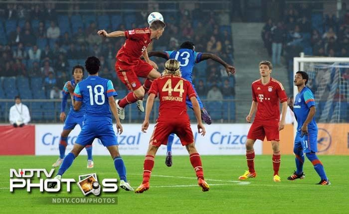 Bastian Schweinsteiger scored a sensational goal to complete the first half 4-0 and ravage India.