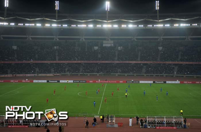 A nearly packed JLN stadium in New Delhi greeted the two teams as fans flocked to see both Bayern Munich stars and Bhutia.