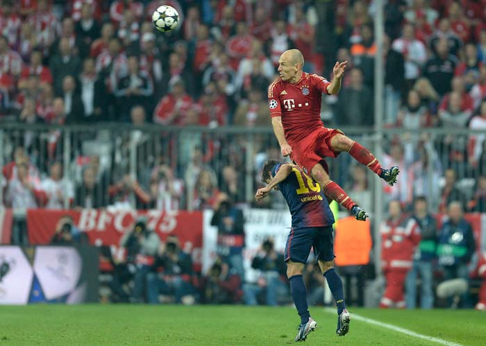 In a clash of the titans, Bayern Munich ripped apart a fabled Barcelona team by four goals to zero in the semifinals.<br><br> The second leg at the Nou Camp looks a mere formality with the Germans seemingly headed to Wembley.