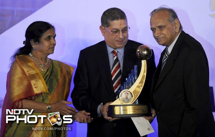 Dravid's parents were present to collect the award on his behalf. The batsman himself was unavailable as he had left for Australia on December 8.