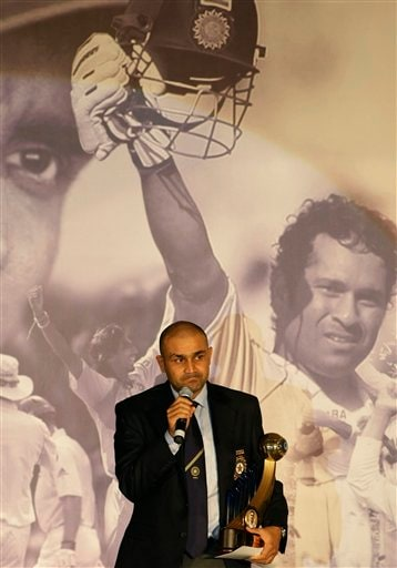 Indian cricket vice-captain Virender Sehwag reacts as he speaks after receiving an award for the best performance in the year 2007-2008 at the Board of Control for Cricket in India (BCCI) annual awards in Mumbai on Wednesday, February 18, 2009. (AP Photo)