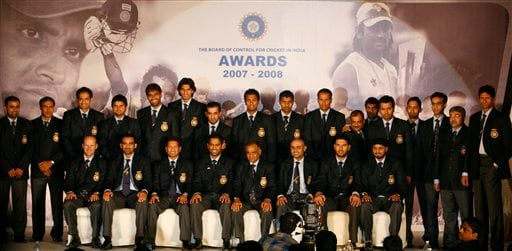 Members of the Indian cricket squad pose for a photograph in Mumbai on Wednesday, February 18, 2009. The Indian team leaves later Wednesday for New Zealand to play three Tests, five one-day internationals and two Twenty20 internationals. (AP Photo)
