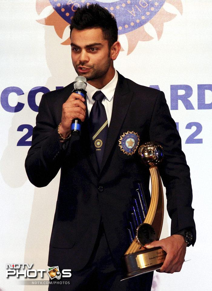 Virat Kohli speaking after receiving his award for his consistent form in the year 2011-12.