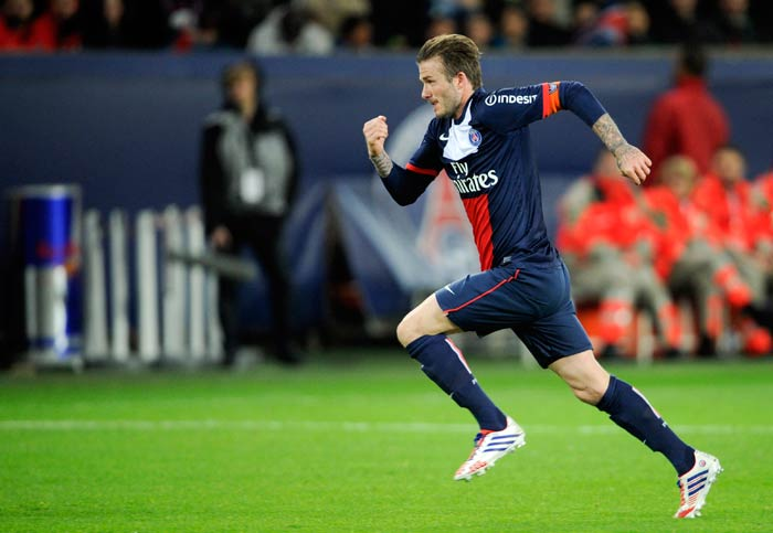 With tears in his eyes David Beckham played his final home match for PSG at the Parc de Princes. PSG beat Brest 3-0 and Beckham was given the captains armband for the tie.