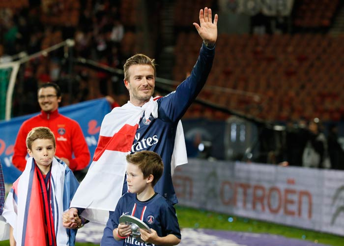 "Draped in an English flag, with ""Hello, Goodbye"" from the Beatles' playing, a laser show accompanied a brief video highlights reel of Beckham's time with PSG."