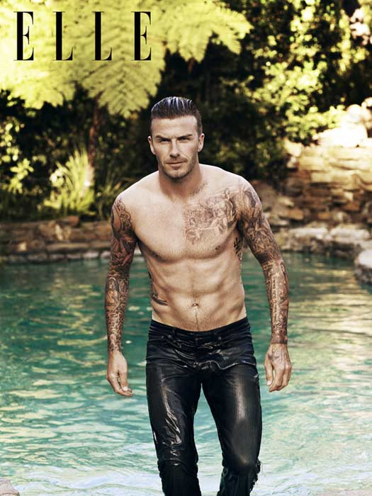 David Beckham set temperatures soaring with his shirt-less picture on the cover of the Elle magazine in May 2011. His body-art is on delicious display as he comes out of the water. That he is the first-ever male on the cover of this magazine may just be a detail for many.<br><br>Click for more pictures of the soccer star with his 'powerful paintwork' on display.