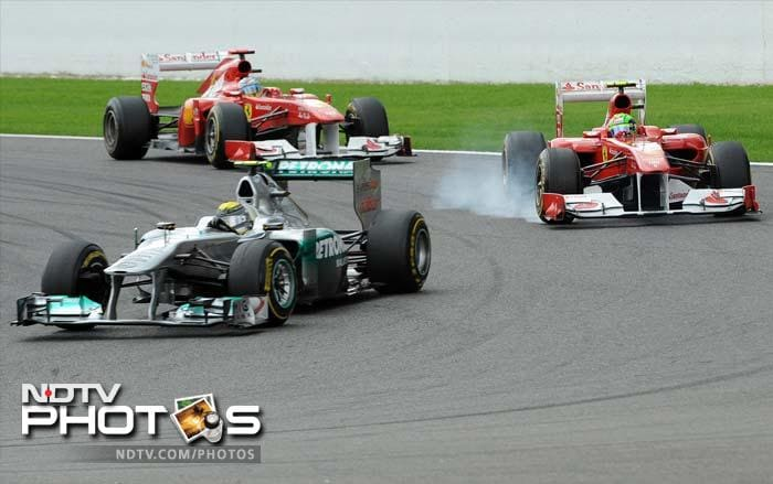 The two Ferrari's compete with each other during the Belgian Grand Prix.