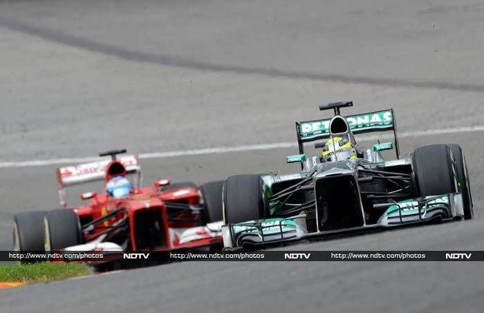 Fernando Alonso, a two-time world champion, revelled in the conditions, passing Button and Rosberg as he climbed to third by lap 10, Hamilton hanging on to Vettel at the front where the gap was 4.3 seconds.