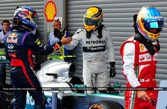 The defending triple world champion came home a comfortable 16.869 seconds ahead of second-placed Spaniard Fernando Alonso of Ferrari with Hamilton third for Mercedes. <br> It was his fourth third-place of the year and the 54th podium finish of his career, drawing Hamilton alongside three-time champion Austrian Niki Lauda.