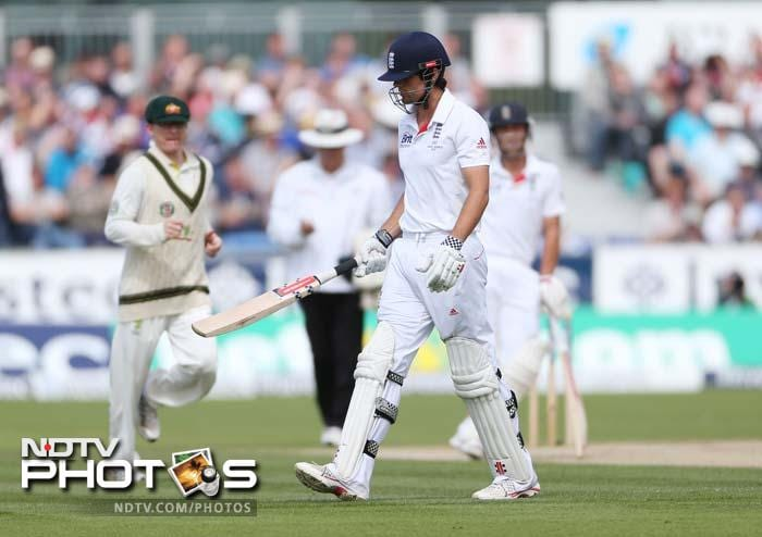 Harris took three England top-order wickets for 18 runs in 24 balls. With conditions overcast, he had England captain Alastair Cook, on 22, nicking a loose drive to wicketkeeper Brad Haddin.