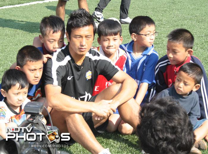 Bhutia's excellence in football was realised as early as the year 1986. At the age of nine, Bhutia won a football scholarship from SAI to attend the Tashi Namgyal Academy in Gangtok.