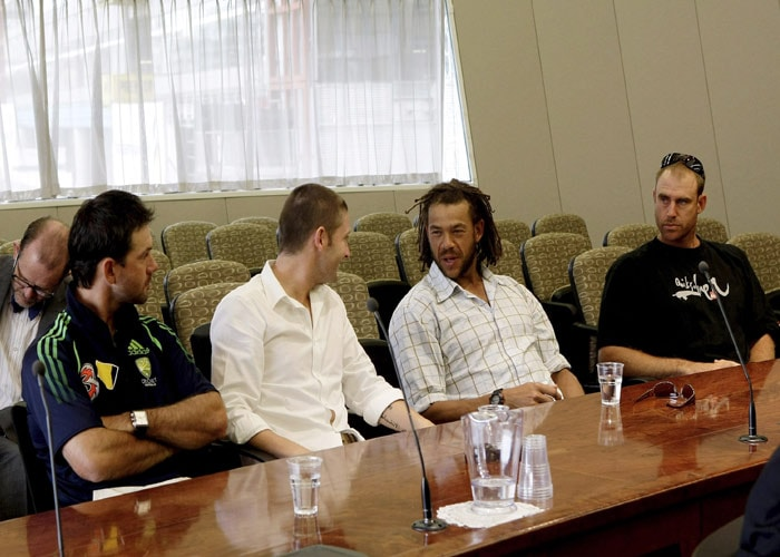 <b>Decision time:</b> Australian players, from left, Ricky Ponting, Michael Clarke, Andrew Symonds and Matthew Hayden sit in the courtroom