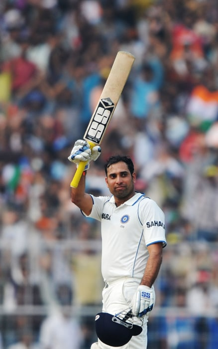 Continuing his love affair with Eden Gardens, VVS Laxman hit the 15th century of his Test career to bat South Africa out of the Test. Laxman also put up a partnership of 259 runs with MS Dhoni to take India's lead to 347 runs. (AFP Photo)