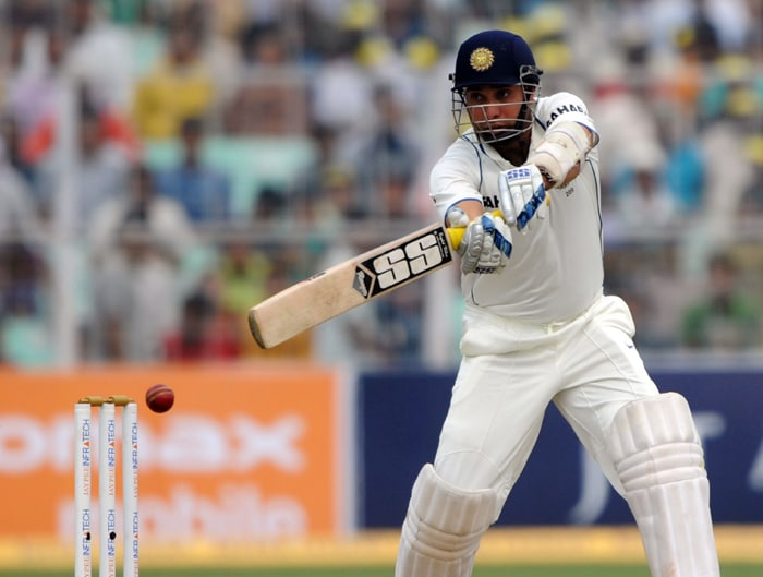 Here, VVS Laxman is seen playing an attacking shot enroute to his 15th Test ton. (AFP Photo)