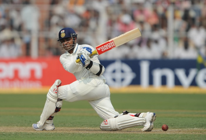 The man who started it all! The 'Swashbuckling Sehwag' powered himself to 165 off just 174 deliveries to launch a knock-out blow on the visitors. (AFP Photo)