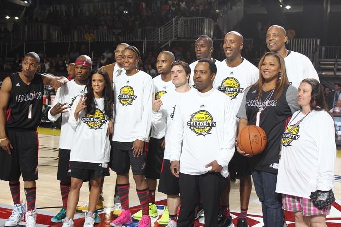 Jamaican sprinter Usain Bolt rubbed shoulders with a host of celebrities during a basketball match.