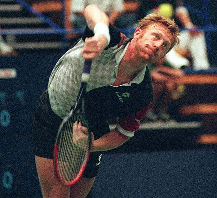 A lesson in serving for the Mayor of London. They may look alike, but Johnson displayed none of the poise, guile and precision as exemplified by Becker in his hey-days.