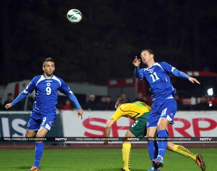 Vedad Ibisevic scored the only goal versus Lithuania as Bosnia-Herzegovina reached their first ever major finals.
