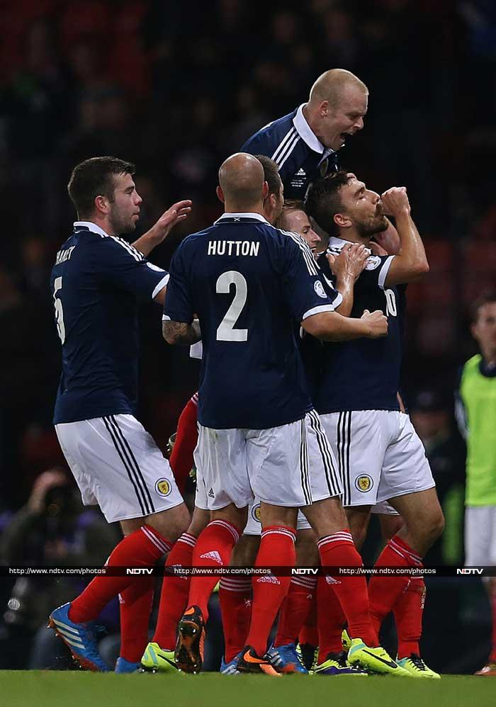 Scotland, whose hopes of qualifying for the 2014 World Cup had long since disappeared, earned a morale-boosting 2-0 victory over Croatia.