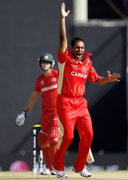 They may be minnows but there is nothing small about their quest to gain recognition. Ask Khurram Chohan of Canada who lets go off an appeal against Zimbabwe during their league match. (Getty Images)
