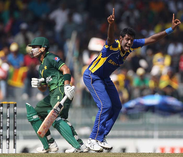 Angelo Mathews has an impressive tally of wickets. His style of demanding a wicket, however, is getting noticed as well. In this picture, the Lankan appeals for the wicket of Pakistan's Kamran Akmal. (Getty Images)