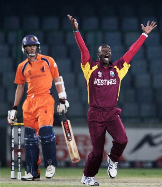 Kemar Roach has been one of the most prolific bowlers in the ongoing tournament. His appeals, though, have had as much of an impact, if not more as is evident from this scream during the match against Netherlands. (Getty Images)