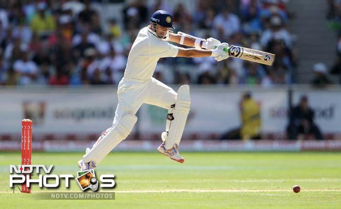 The foundation of India's reply was a solid 117-run third wicket partnership between Tendulkar and Rahul Dravid (68 batting) after Sehwag's quickfire innings.