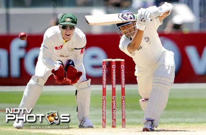 Rahul Dravid, second only to Tendulkar for most Test runs, was unbeaten on 68 after getting a reprieve on 65 when he was bowled by a Siddle no-ball.