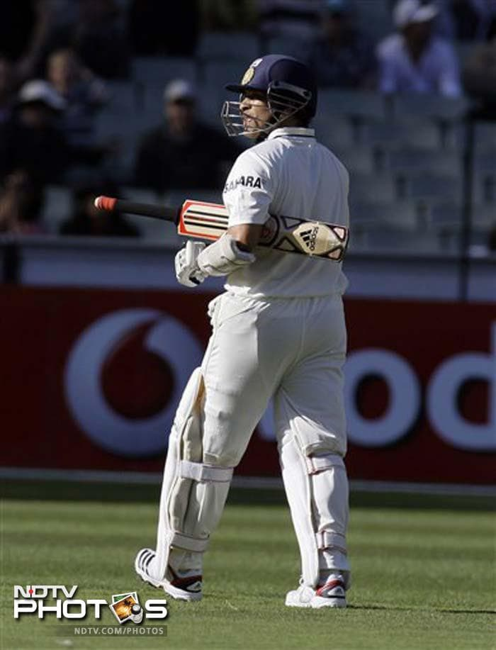 Sachin Tendulkar, who has been on 99 Test and ODI centuries since March, looked in great touch but lost his stumps in an inspired final over from the stout-hearted Siddle on Day 2 of the first Test match against Australia. (All AP, AFP images)