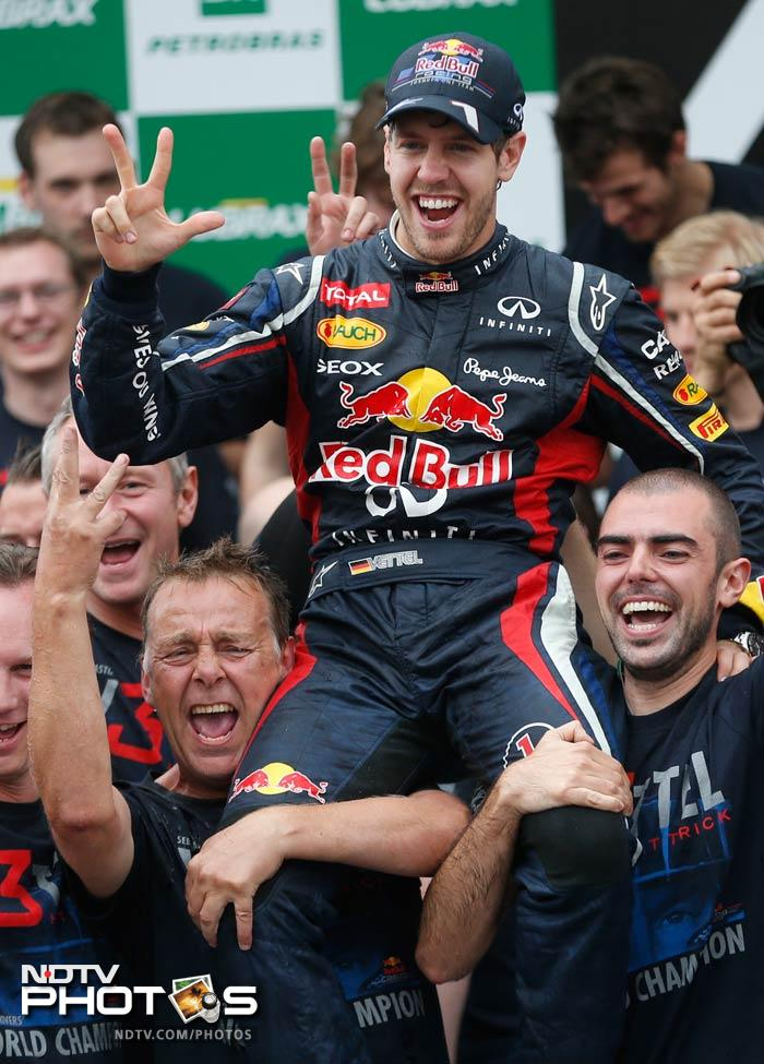 Sebastian Vettel finished sixth, but that was enough for him to become the youngest pro to win the Championship thrice in a row. And the German thoroughly deserved all the adulation.