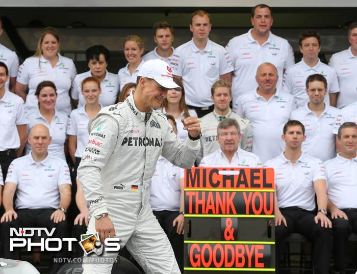 Emotions ran high at the Mercedes stable too as arguably the greatest Formula One driver in the history walked out in the racing gears -- for one last time.
