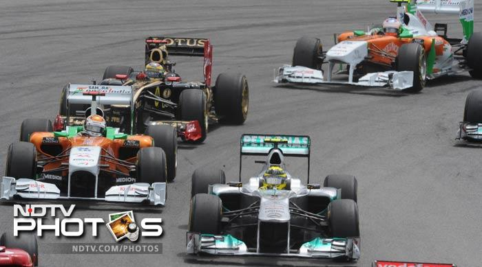 The Force India drivers finished on a high as well. Adrian Sutil (left) finished the race on the sixth spot while teammate Paul di Resta took the eight position.