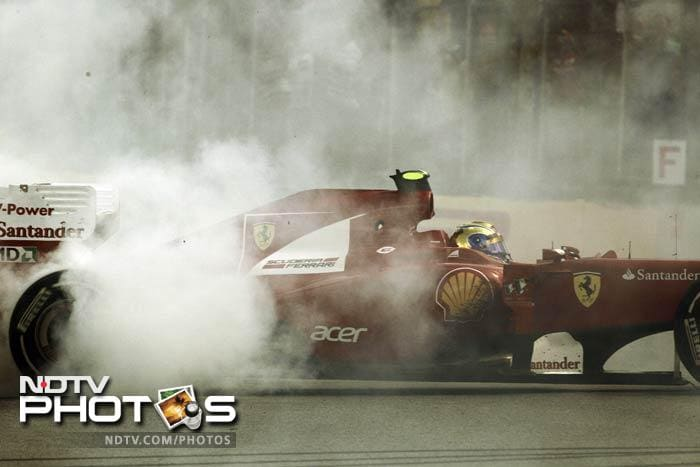 Felipe Massa is seen here spinning his car, for all the right reasons though. He ended the race on the fifth spot.