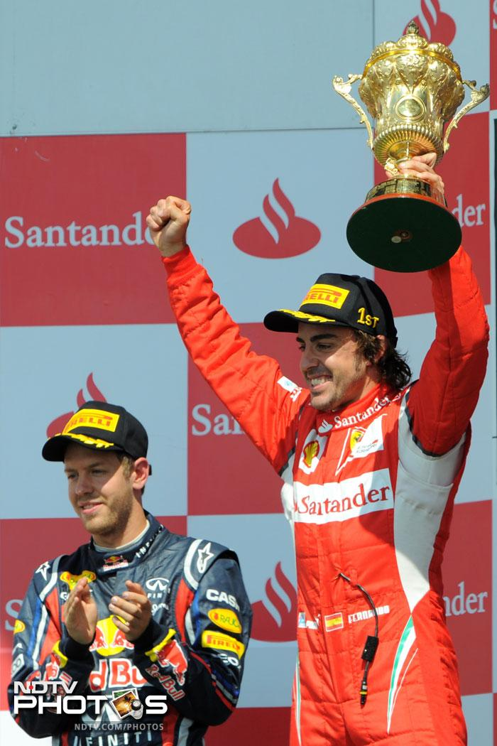 The win also takes Alonso up to third in the standings, just 12 points behind Red Bull's Mark Webber who is 80 points behind Sebastian Vettel.